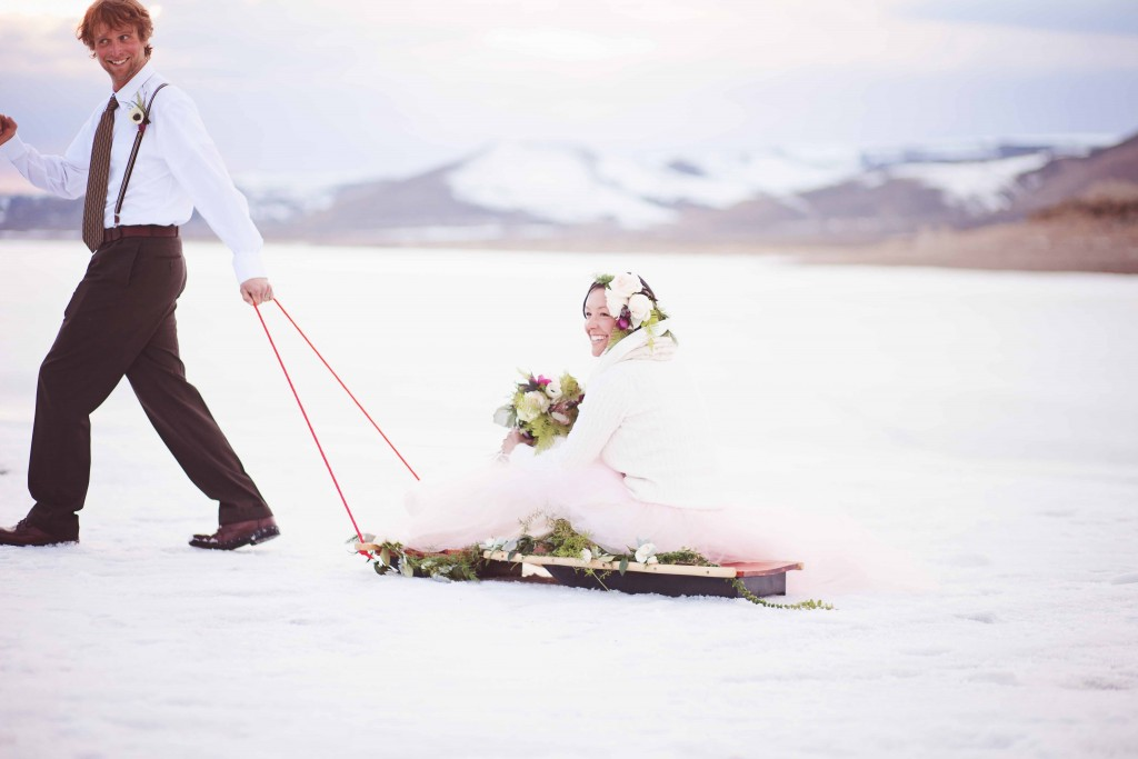 Winter Wedding on a Sled