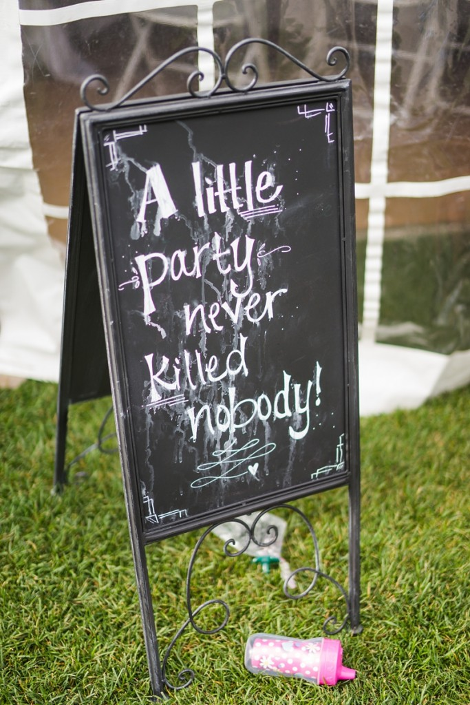 Chalk board party sign