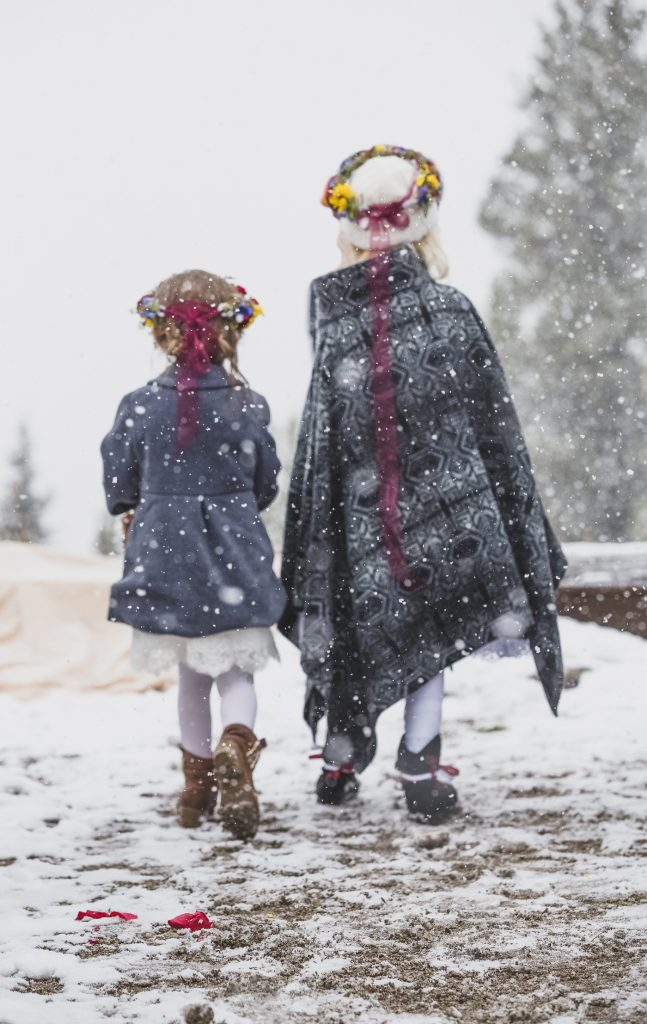 flower girls and snow